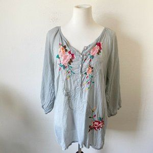 Johnny Was Gray Floral Blouse Top